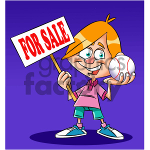 cartoon kid holding a baseball clipart. Commercial use image # 405579