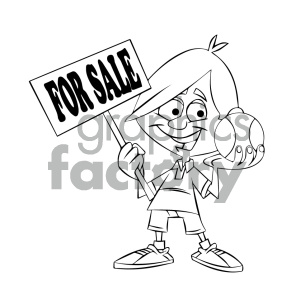 black and white cartoon kid holding a baseball for sale clipart. Commercial use image # 405583