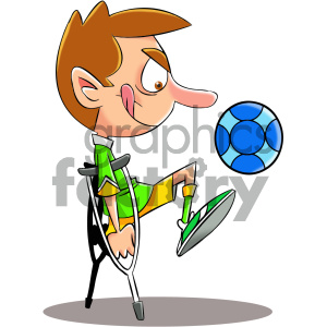 cartoon disabled soccer player clipart. Commercial use image # 405593