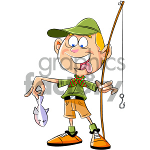cartoon boy scout character fishing clipart. Commercial use image # 405603