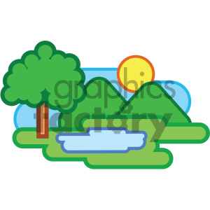icon nature mountains pond water tree