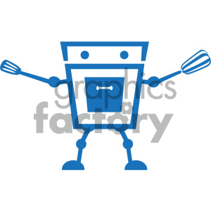 cooking robot character vector art clipart. Commercial use image # 405903
