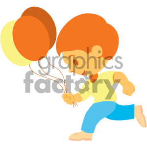 people cartoon child run running balloons fun