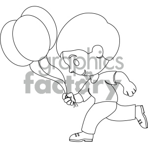 black and white coloring page boy running with balloons vector illustration