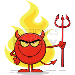 Red Devil Cartoon Emoji Character Holding A Pitchfork Over Flames Vector Illustration Isolated On White Background clipart. Commercial use image # 406126