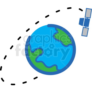 satellite orbiting vector icon clipart. Royalty-free image # 406222