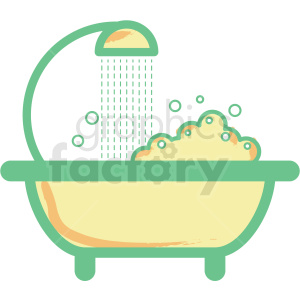 bathtub shower flat vector icon clipart. Commercial use image # 406342