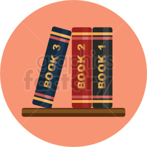 books on shelf vector flat icon clipart with circle background clipart. Commercial use image # 406765