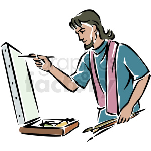 A Male Artist Painting on a Canvas Using Several Paint Brushes clipart. Royalty-free image # 156275