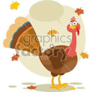 Thanksgiving Turkey Bird Cartoon Mascot Character Vector Illustration Flat Design Isolated On no Background With Autumn Leaves And Speech Bubble clipart. Royalty-free image # 406954