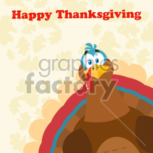 Thanksgiving Turkey Bird Cartoon Mascot Character Peeking From A Corner Vector Illustration Flat Design Over Background With Autumn Leaves And Text Happy Thanksgiving clipart. Royalty-free image # 406970