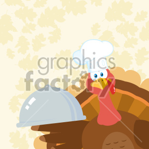 Turkey Chef Cartoon Mascot Character Peeking From A Corner And Holding A Cloche Platter Vector Illustration Flat Design Over Background With Autumn Leaves clipart. Commercial use image # 406974