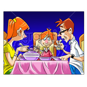 cartoon child kid boy dinner family food eating