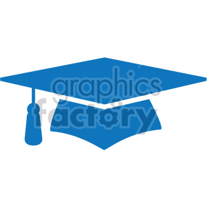 blue graduation cap vector icon clipart. Commercial use image # 407075