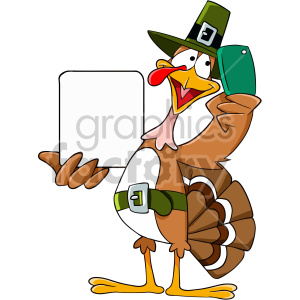 Thanksgiving turkey taking a selfie cartoon clipart. Royalty-free image # 407115