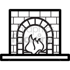black and white fireplace vector icon clipart. Royalty-free image # 407243