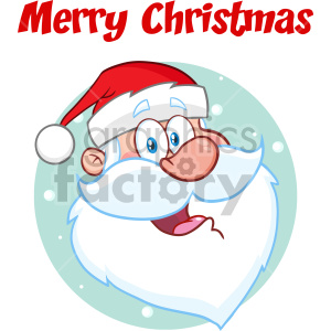 Happy Santa Claus Face Classic Cartoon Mascot Character Vector Illustration With Text Merry Christmas clipart. Royalty-free image # 407285