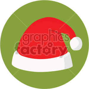 christmas santa hat on green circle background icon clipart. Commercial use image # 407329