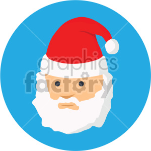 christmas santa face on blue circle background icon clipart. Royalty-free icon # 407344