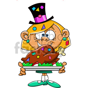 cartoon girl holding large chicken dinner for new years party clipart. Commercial use image # 407367