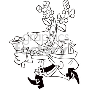 black and white cartoon reindeer dressed like santa running with bag of gifts coloring page clipart. Commercial use image # 407368