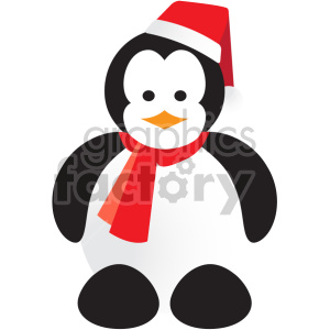 Penguin wearing santa hat clipart. Royalty-free icon # 407377