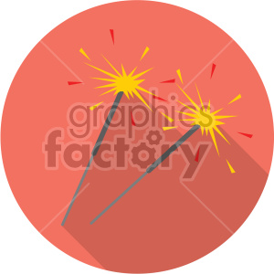 sparklers on red circle background clipart. Commercial use image # 407405