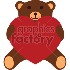 teddy bear holding large red heart valentines vector icon no background clipart. Commercial use icon # 407482