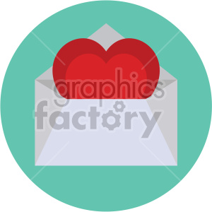 love letter valentines vector icon on circle background clipart. Commercial use image # 407503