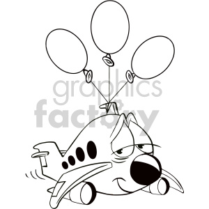 black and white tired airplane cartoon character clipart. Royalty-free image # 407552