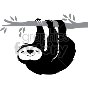 sloth hanging on a branch clipart. Commercial use image # 407576