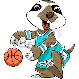 cartoon sloth basketball player clipart. Commercial use image # 407586