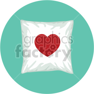 throw pillow with heart for valentines on circle background clipart. Commercial use image # 407609