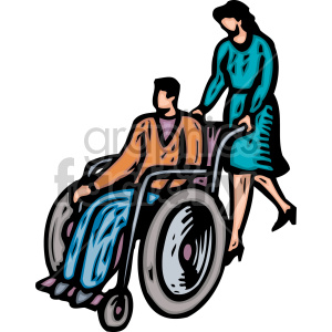 cartoon person being pushed in wheelchair clipart. Royalty-free image # 149512
