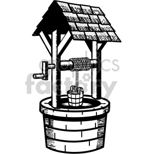 water well black white