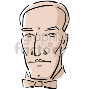 male with a bow tie clipart. Commercial use image # 157353