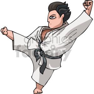man doing karate kick