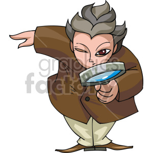 man looking through a magnifying glass clipart. Royalty-free image # 155347