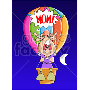 cartoon man scared in hot air balloon clipart. Commercial use image # 407903