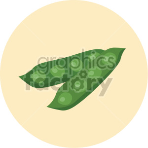 pea pods on yellow circle background clipart. Royalty-free image # 407981