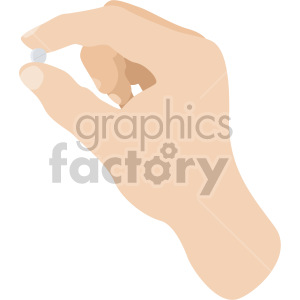 white hand holding pill no background clipart. Commercial use image # 408208