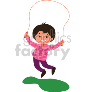 child playing with jump rope clipart. Royalty-free icon # 408383