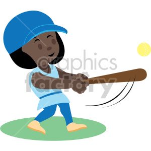 cartoon african american girl playing softball clipart. Commercial use image # 408386