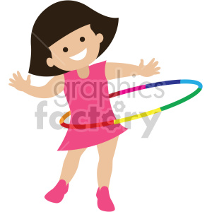 girl playing with hula hoop clipart. Commercial use image # 408387