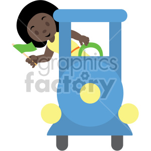 cartoon african american girl riding train