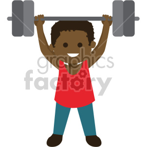 african american boy lifting weights clipart. Royalty-free image # 408395