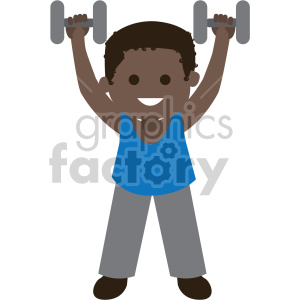 african american boy lifting dumbbells clipart. Royalty-free image # 408403