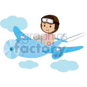 cartoon girl flying an airplane clipart. Commercial use icon # 408411