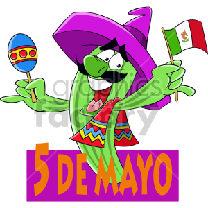 cactus celebrating cinco de mayo clipart. Royalty-free image # 408418