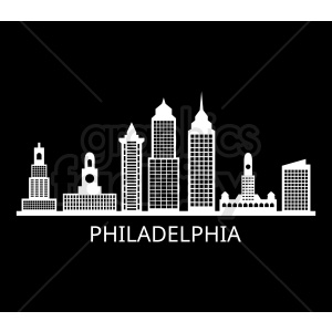 philadelphia city skyline vector with label on black clipart. Commercial use image # 408628